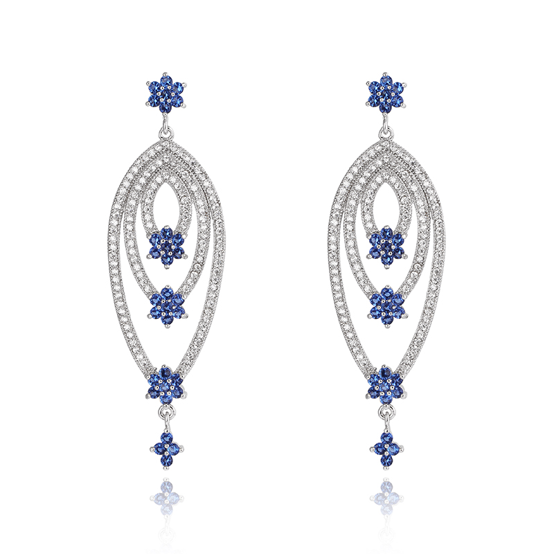 High Quality Wedding Jewelry Platinum Plated Beautiful Sapphire Zirconia Crystal Flower Earrings Jewellery