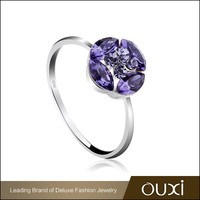 OUXI Britainic Style violet crystal flower 925 silver rings Y70082