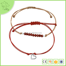 Metal Heart Charm Crystal Beads Red String Rope Bracelet Wholesale