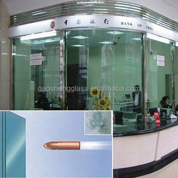 Bullet proof resistance tempered laminated glass for sale
