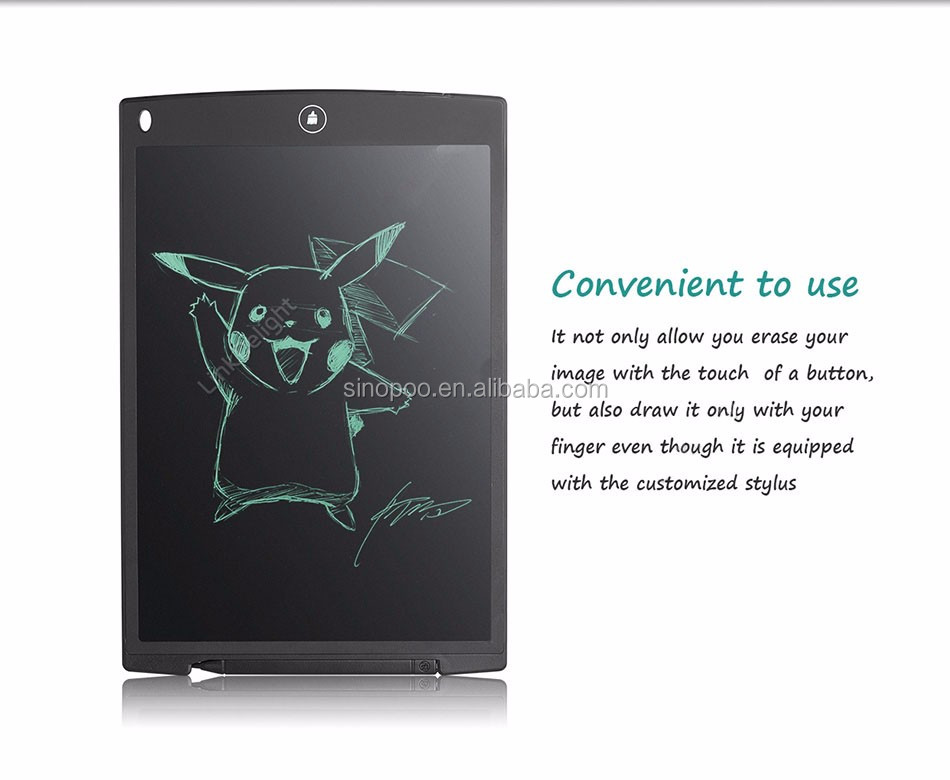 12 Inches Environmental-friendly Boogie LCD Writing Tablet As Mouse Pad, Kids and Business Durable Writing Tablet eWriter