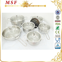 13pcs belly shape stainless steel cookware induction cookware