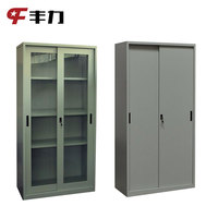 Bookcase model design steel full two glass door cabinet with sliding doors