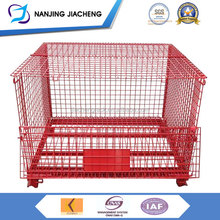 Light Duty Collapsible Food Lockable Metal Stainless Steel Wire Mesh Container With Wheels