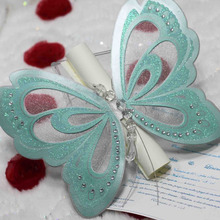 2016 Hot sale luxurious charming pearlecent aqua laser cut butterfly scroll wedding invitations