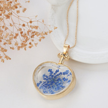 Memory Jewelry Wholesale Dry Flower Glass Heart Locket Pendant Necklaces In Long Bead Chain