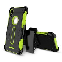 2 in 1 back clip rugged armour phone case for iphone X case kickstand tpu pc belt clip