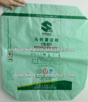 China laminated OPP film PP block bottom valve bag for building materials with filling spout used hot air welding technology