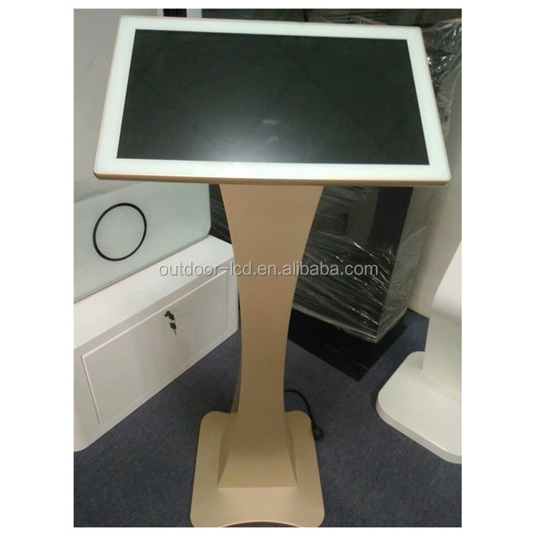 21.5 inch Earthly gold indoor multi touch information kiosk for check in