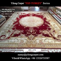 280x370cm red modern Aubusson design pure silk on silk persian handmade silk carpet