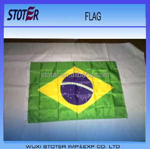 Promotional custom printing polyester Brazil country flags , Brazil national flags