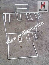 Single side boutiques White display racks/White Metal wire display shelf/shop display holders with 8 double hooks