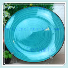 popular durable blue ename plate,dry fruit plate,antique porcelain plates