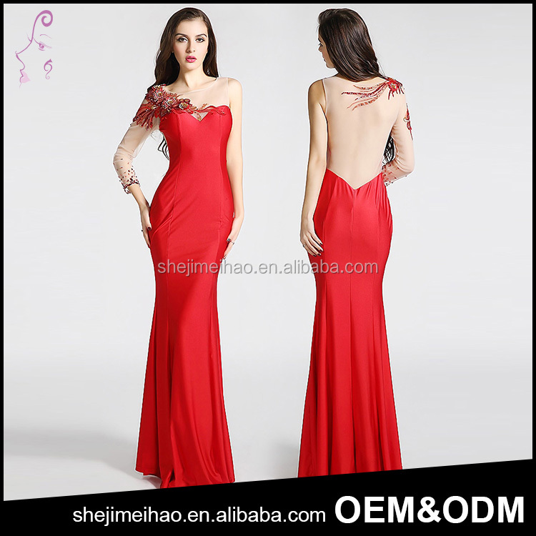 New Year Dress Red Color Stitching Design One Sleeve Banquet Party Dress Long Fish Tail Luxury Evening Dress Suit