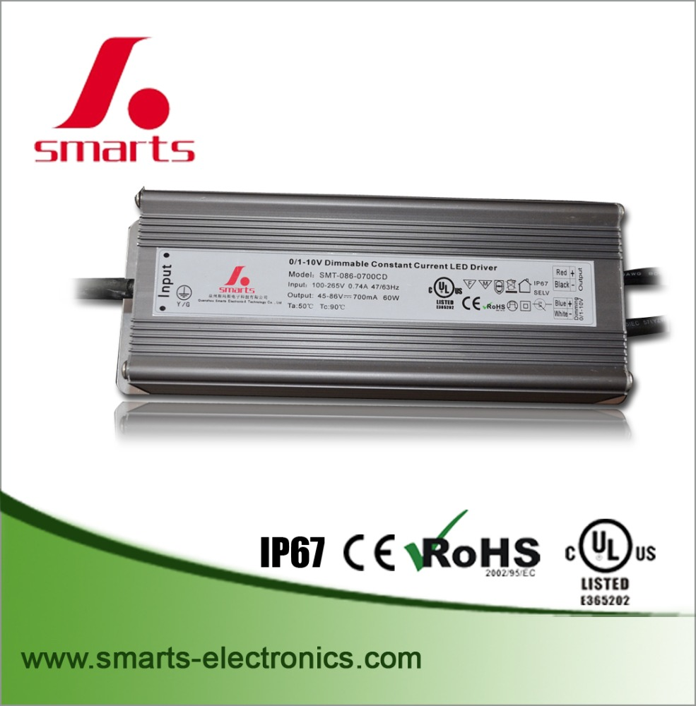 12v 60w 0-10v class 2 dimming waterproof led driver