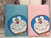 new products for Apple ipad mini cute cartoon Doraemon PU leather flip case stand holder cover