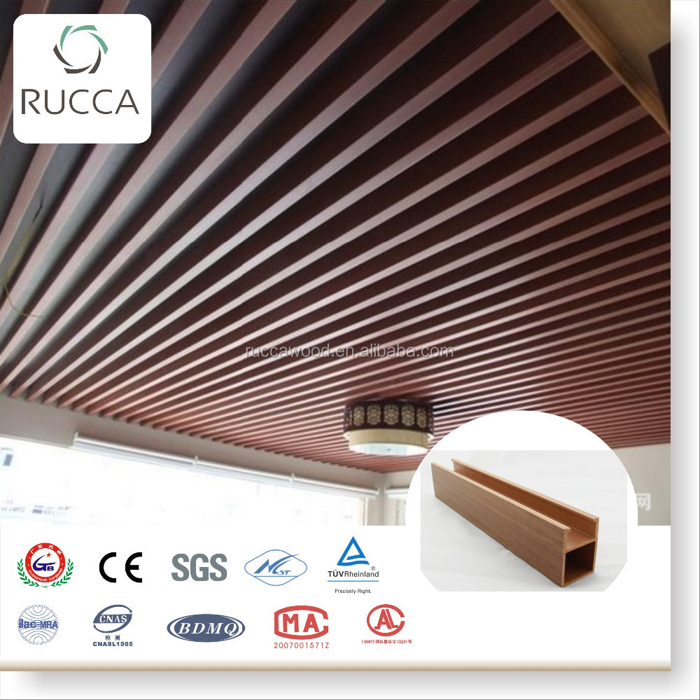 2017 Ruccawood WPC promotion types of list ceiling board materials used for false ceiling