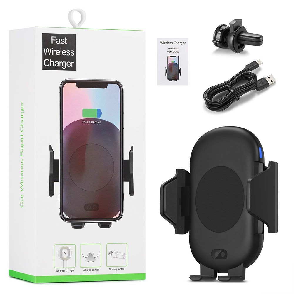 new 2019 trending product <strong>C10</strong> Infrared Sensor Fast Qi Wireless Car Charger Air Vent Holder For iPhone X Xs For Samsung S8 S9