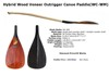 Hybrid Carbon Fiber Outrigger Canoe Paddle With Wood Veneer Blade