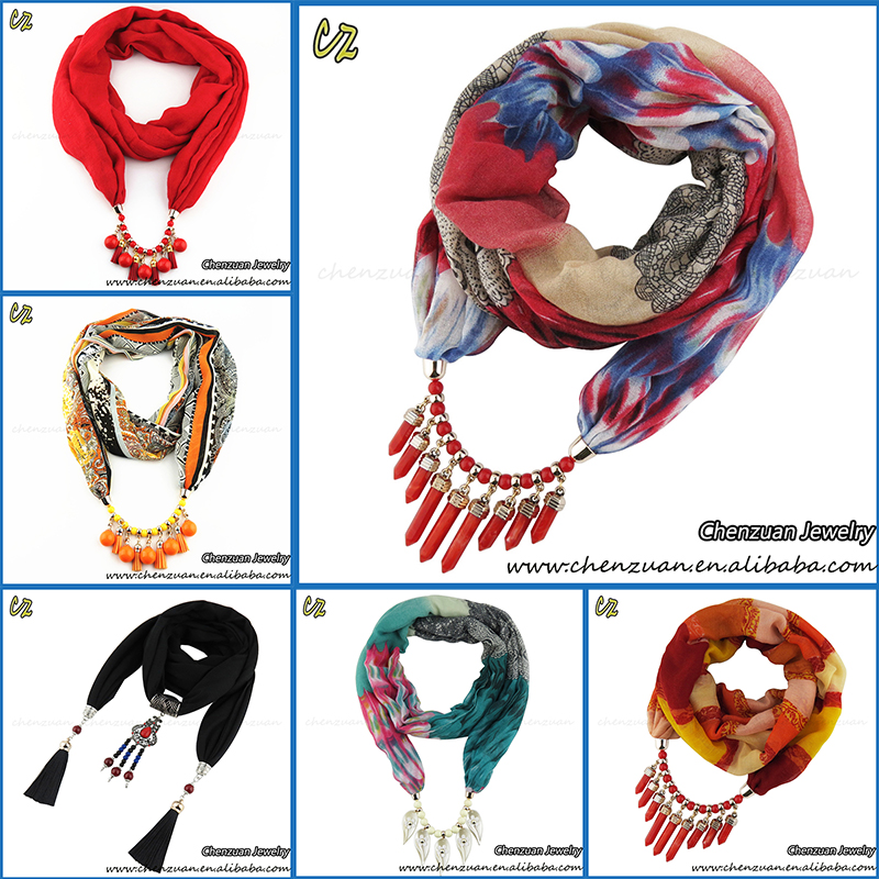 Women Lady Long Scarf Jewelry Necklace Beads Pendant Scarves Fashion Shawl Wraps
