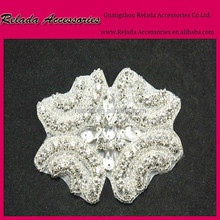 Bridal fabric pearl Beads work designs applique with crystal for girls dresses