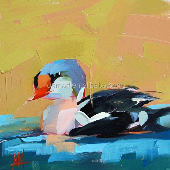 Above the blue clear lakes blue black ducks swimming is happy painting 100% handmade classic decoration oil painting in canvas