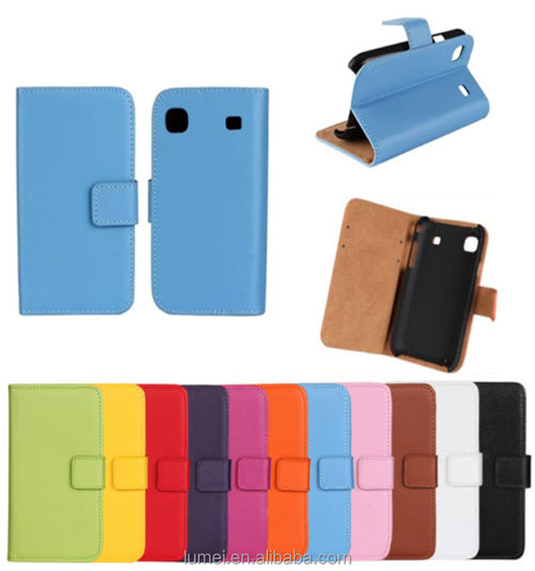 Stand Wallet Case Genuine Leather Card Slot Cover Skin For Samsung Galaxy S i9000