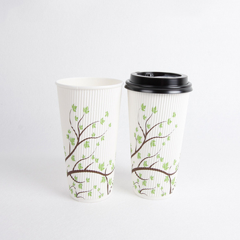 Classical Ripple Wall Coffee Cup Customized Paper Cup