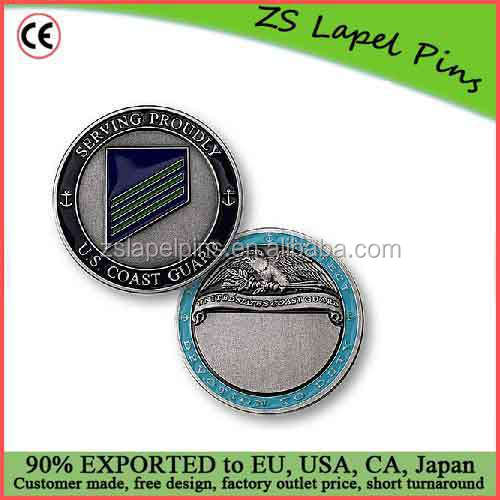 Free artwork design custom quality U.S. Coast Guard E-3 Airman Engravable Rank Coin