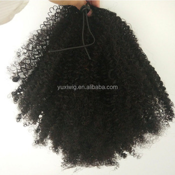 Unprocessed Brazilian Human Hair Drawstring Ponytail Kinky Curly Ponytail 8A Curly Hair Extensions