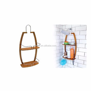 Wholesale Bamboo 2 Shelves Free Standing Corner Shower Caddy for Shampoo, Conditioner, Soap