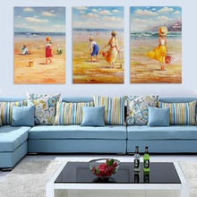 Abstract famous beach boy and girl oil paintings of children on canvas