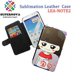 Sublimation leather flip case for samsung galaxy note 2