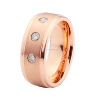 Brushed precious stone jewelry rose gold plated engagement stone rings for men