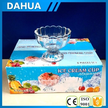 5oz glass cup ice cream six glass ice cream cup in one color box