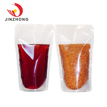 China Factory Custom Produce Liquid Particles Clear Stand Up Plastic Bag