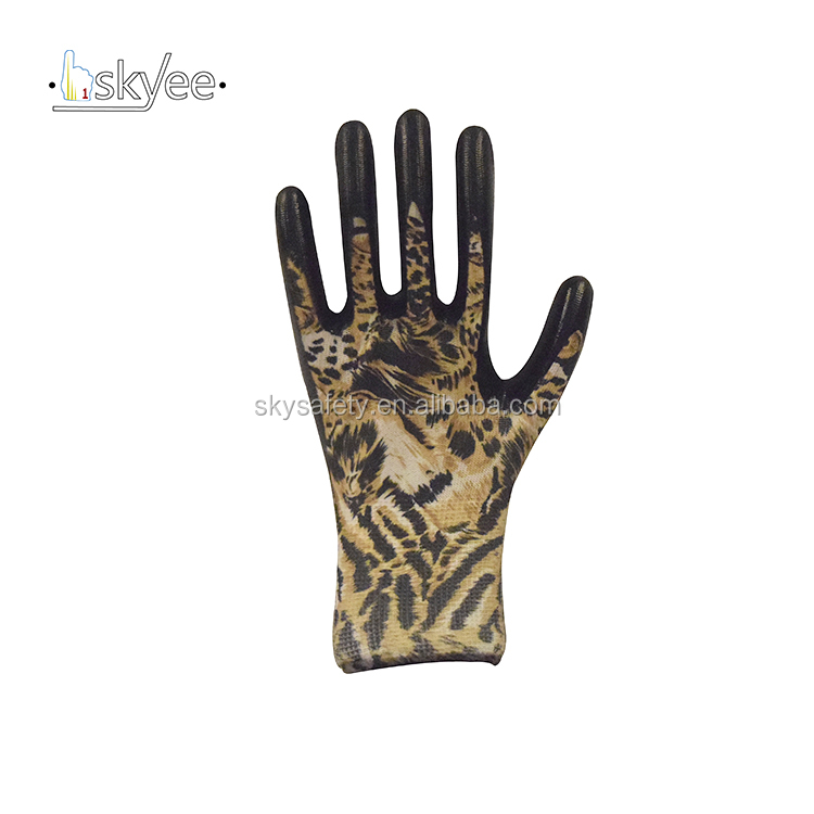 13G printed polyester liner cheap wrinkle work protective gloves