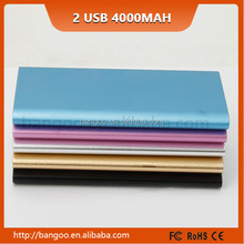 Factory best quality rechargeable smart power bank 4000mah ultra slim power bank VS 3500mAh 2 USB Power bank