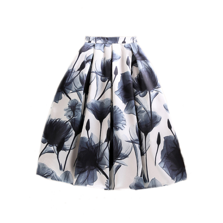 Summer Brand Design Women Simple Elegant High Waisted Floral Print Pleated Skirt for Office Lady OL Work Wear