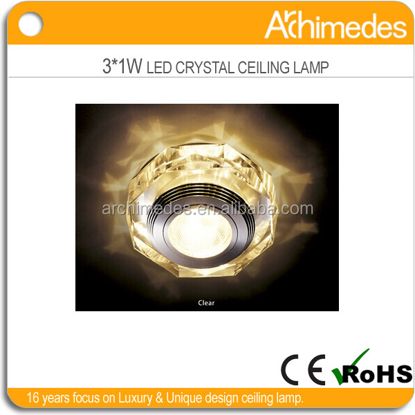 high quality K9 crystal round shape with aluminum base IP44 ceiling lamp decor fixture led light led ceiling lighting AD6376