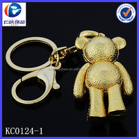 New Design Fashion Diamond gentleman bear 3D printing metal keychains