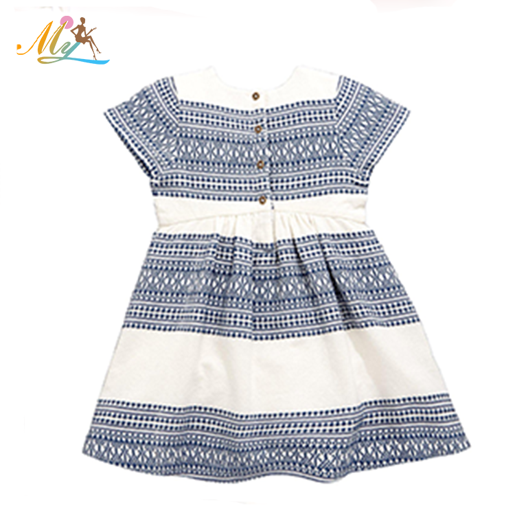 Hot sale summer 2 year old girls 100% cotton one piece ruffle dress
