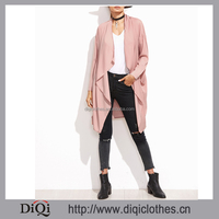 Top fashion high quality women Pink Waterfall Collar Duster Coat