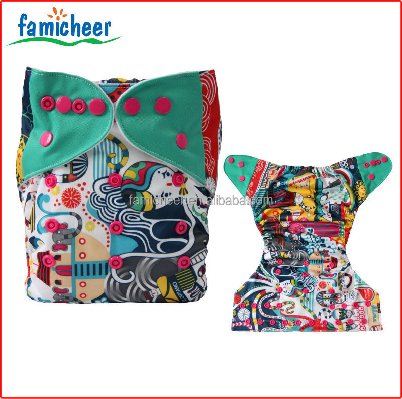 Dual Color Tabs Double Gusset Bamboo Terry Inner Pocket Cloth Diapers