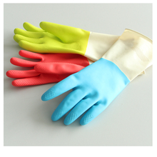 Domestic colourful household rubber gloves for kitchen cleaning
