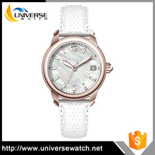 Quartz Stainless Steel Back Watches Lady Leather Watch Promotional