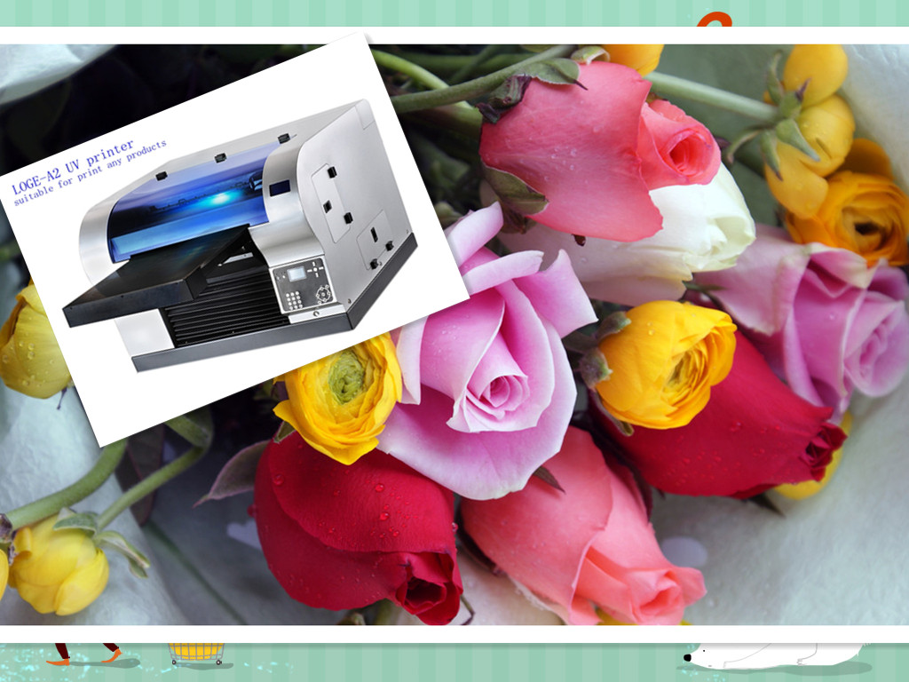 3D flowers printing machine, A2 UV digital flatbed printer for printing rose pictures on photo paper