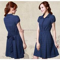 Western style women pure cotton short sleeve dress fashion office lady A line casual dress summer shirt dress
