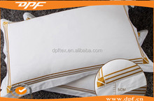 China supplier Hotel high quality double golden stitch 100% polyester white pillowcase