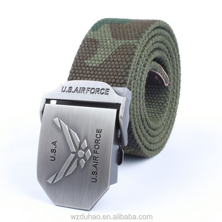 Custom High Quality Canvas Cotton Mens Military Belt With Buckle